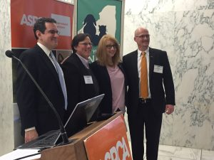 Fed President Brad Shear, Fed ED Libby Post and ASPCA Regional Director Bill Ketzer are joined at Voices for Animals Day by Assemblywoman Linda Rosenthal.